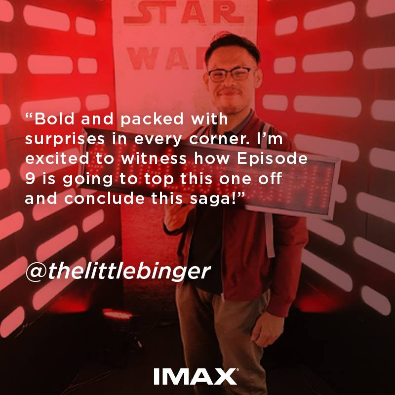 IMAX_SMCinema featured my quick review of Star Wars: The Last Jedi during the VIP Advance Screening.