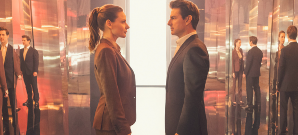 Left to right: Rebecca Ferguson as Ilsa Faust and Tom Cruise as Ethan Hunt in MISSION: IMPOSSIBLE - FALLOUT