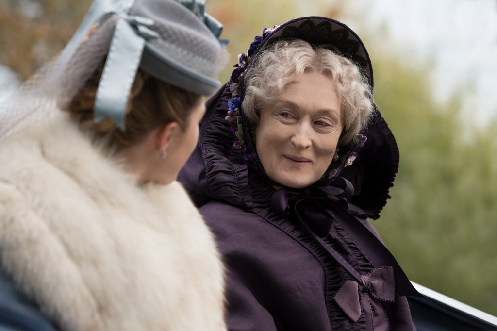 Amy March (Florence Pugh) and Aunt March (Meryl Streep) in Greta Gerwig's LITTLE WOMEN.   The Little Binger   Credit: Columbia Pictures