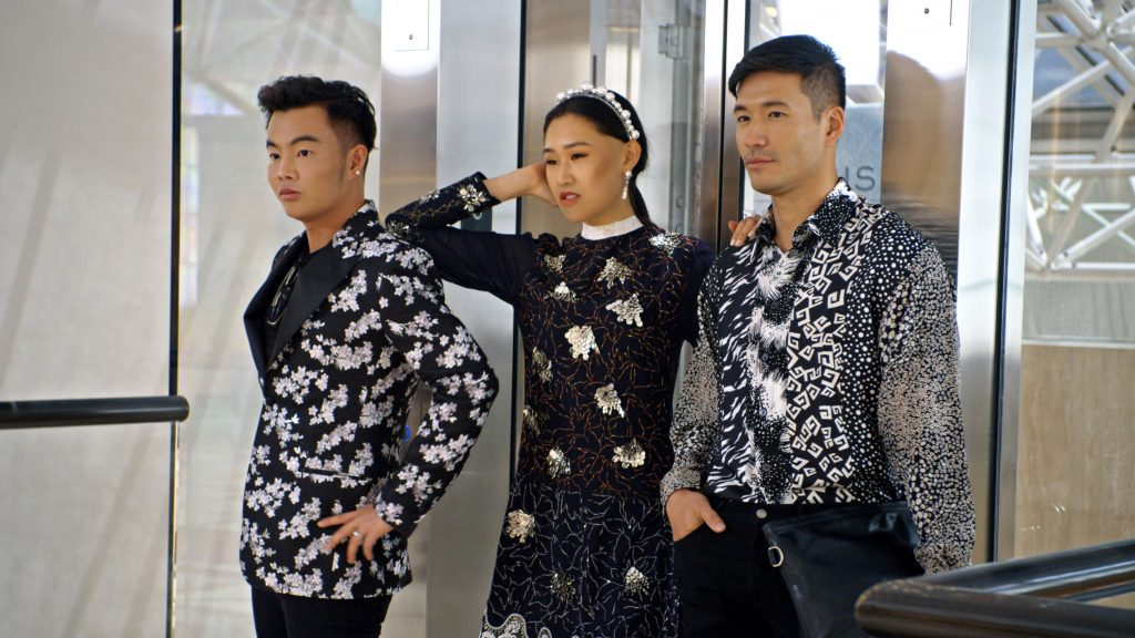 """(L-R) Kane Lim, Jaime Xie and Kevin Kreider in episode 8 """"Will You Marry Me?"""" of Bling Empire: Season 1. c. Courtesy of Netflix © 2021 